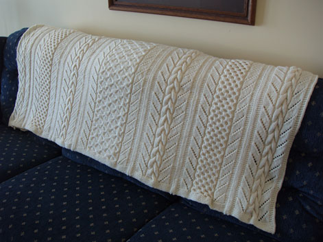 highly textured afghan with cables ideal for a boys room