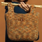 Bamboo Handle Felted Purse