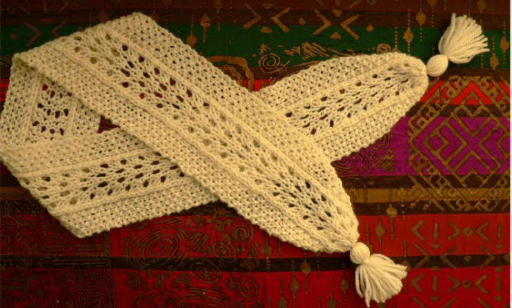 Swiss Fan Lace Scarf Knitting Bee
