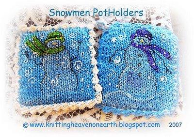 Snowman Potholders