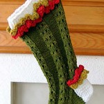 Ruffled Lace Christmas Stocking