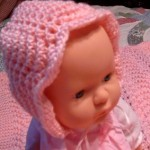 Feather and Fan - Baby Bonnet and Blanket