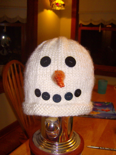 Snowman Hat Knitting Bee
