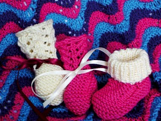 Baby Booties to Match Berry Sweater