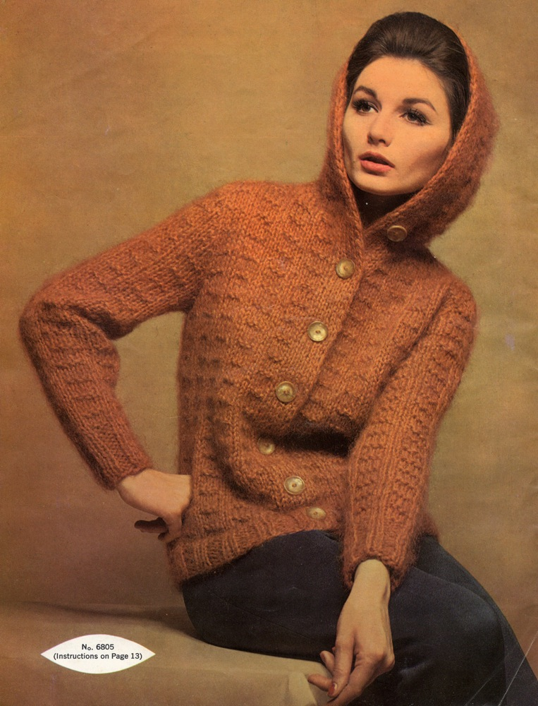 Hooded Mohair Cardigan Vintage Knit Knitting Bee