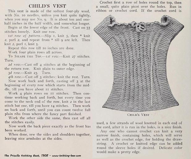Vintage Child S Vest Knit 1908