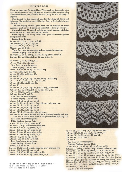 Vintage Lace Edgings Knitting Bee 2 Free Knitting Patterns