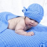 Mock Eyelet Baby Hat and Blanket