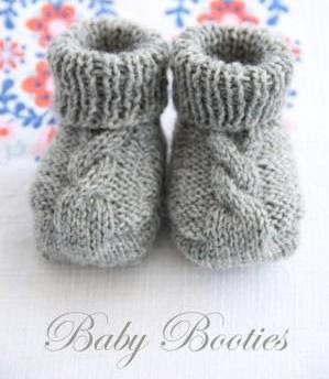 cabled baby booties