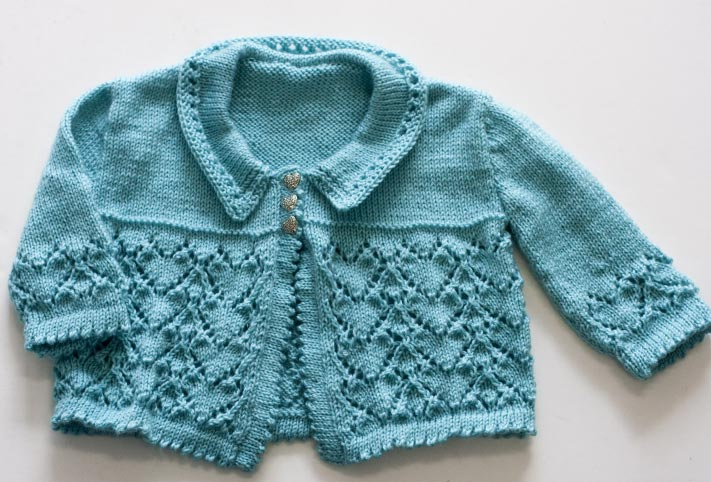 Here's My Heart Baby Cardigan Knit ⋆ Knitting Bee