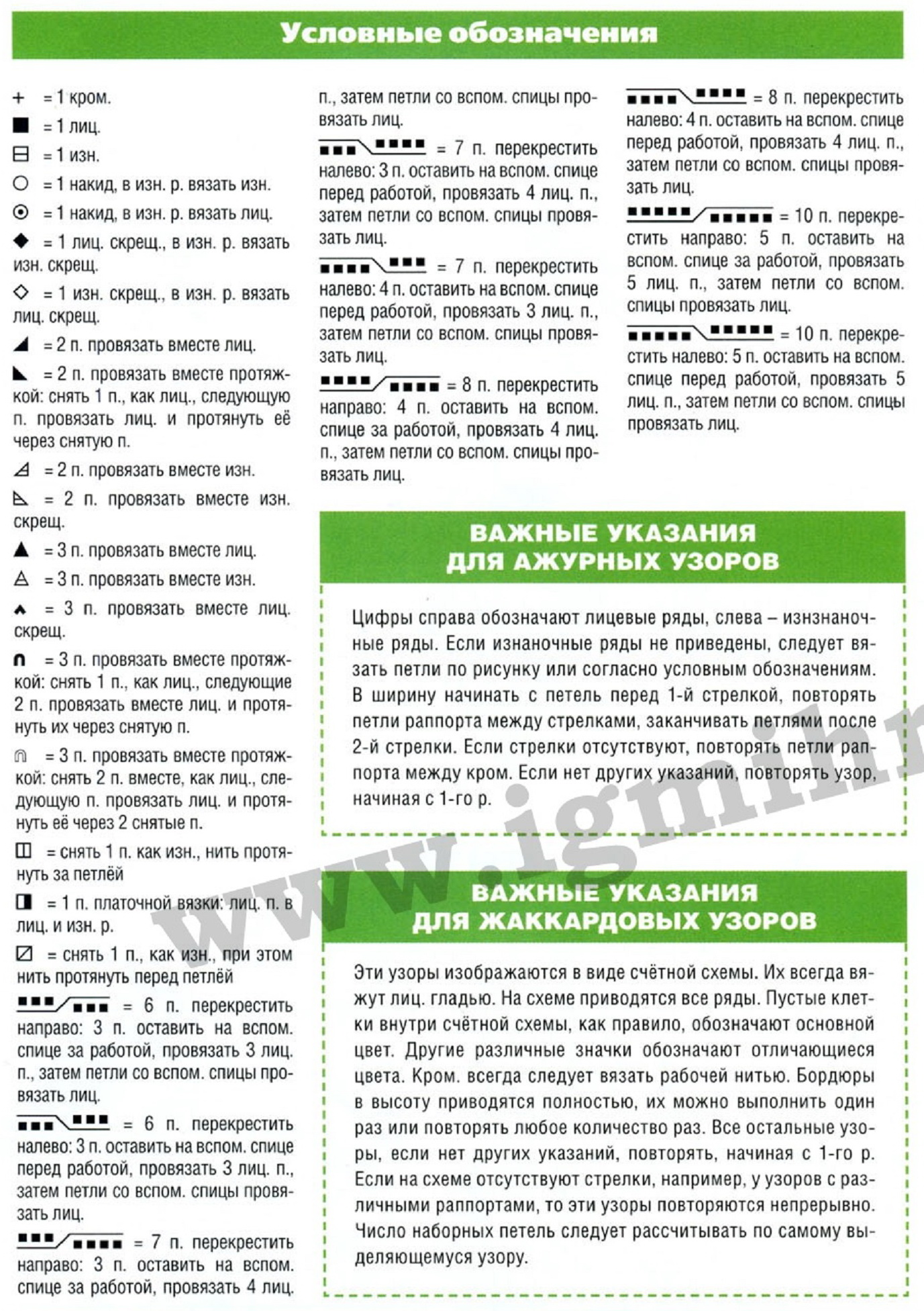 Russian to English Knitting Chart Translation