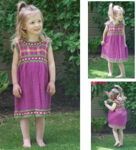 girls plaid dress knitting pattern