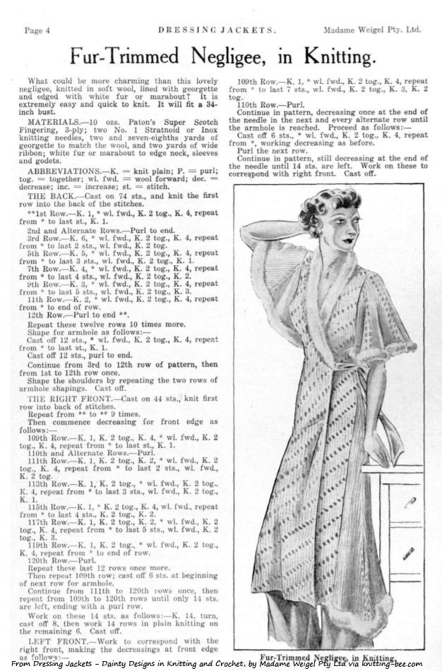 Vintage Fur Trimmed Negligee Knitting Pattern