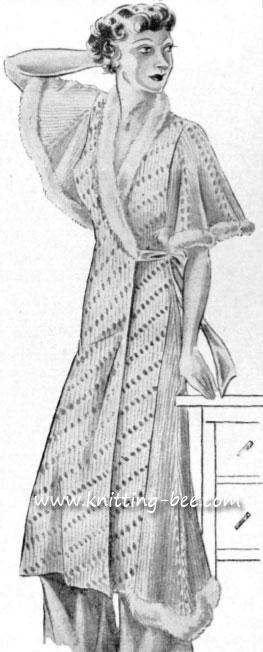 Vintage Fur Trimmed Negligee Knitting Pattern