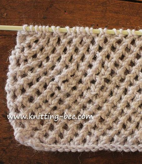 diagonal eyelet mesh stitch knitting