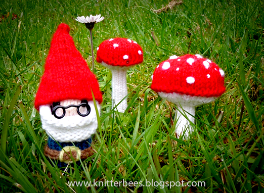 Mr Gnome and Mushrooms Knit Pattern