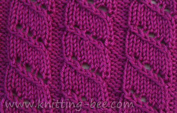 Knitting Bee Stitch Library : diagonal-lace-stripe-knitting-stitch ? Knitting Bee