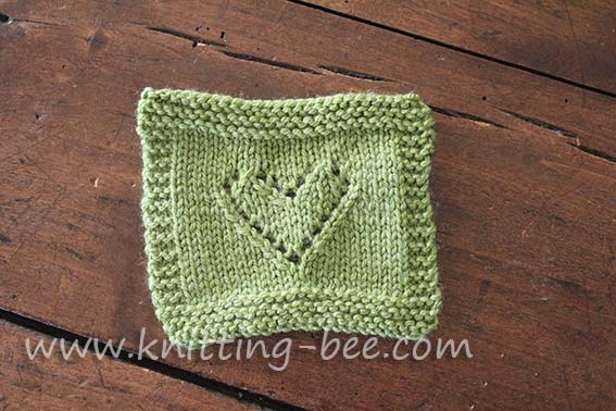 Knitting Heart Motif : Lace heart motif knitting pattern bee