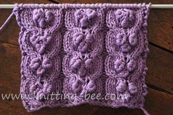 Free Fancy Cable Bobble Knitting Stitch Pattern 1