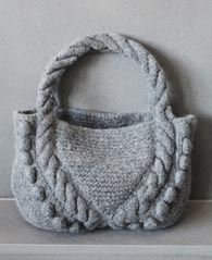 felted bag with bobbles and cables pattern