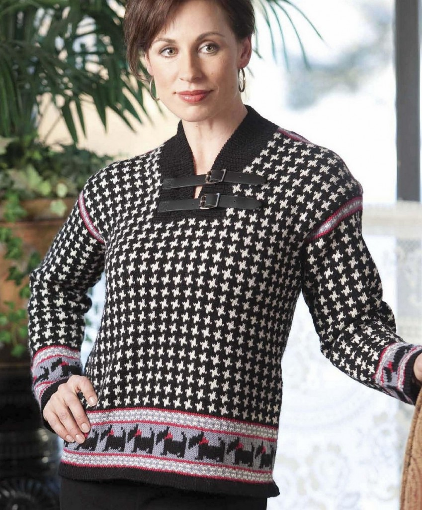 Houndstooth scotch terrier sweater 3