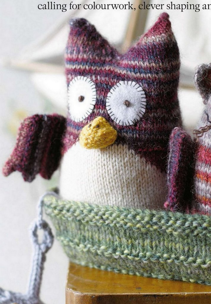 Knitted Owl Toy Pattern ⋆ Knitting Bee