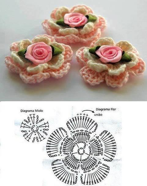 Crochet Flower with Lace Rose