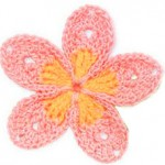 Two Toned 5 Petal Crochet Flower