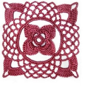 Lace Square Flower Crochet Motif ⋆ Knitting Bee