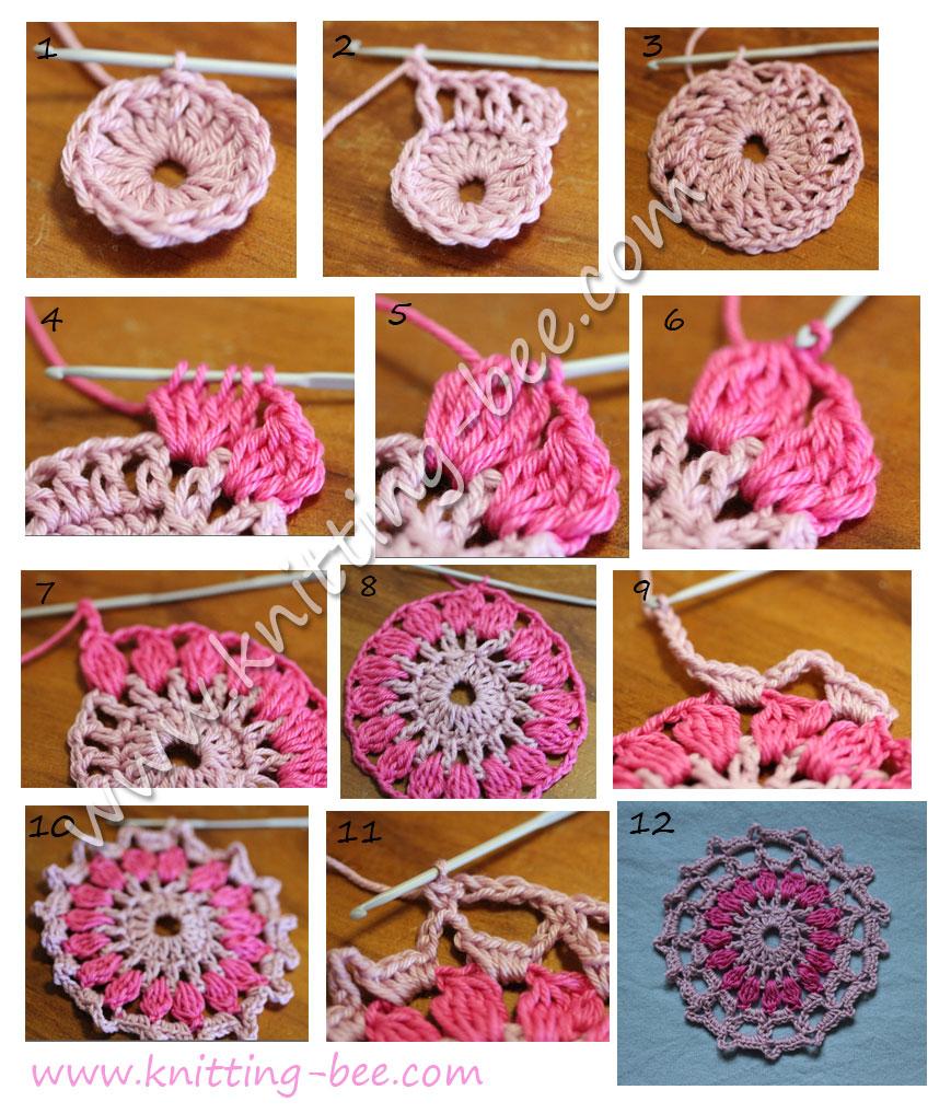 Crochet Knitting Tutorial : Pretty Circle Crochet Motif Tutorial ? Knitting Bee