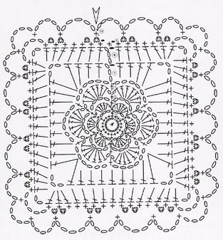 Crochet square intricate knitting bee square flower motif crochet diagram ccuart Image collections