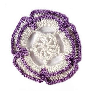 White and Purple Crochet Flower