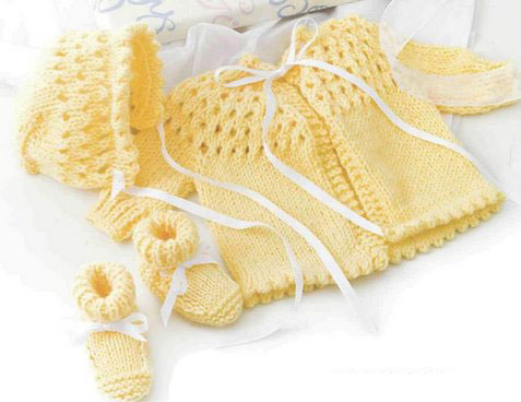 Knit Baby Set Knitting Pattern | Red Heart