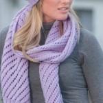 Diagonal Eyelet Scarf And Hat Knitting Pattern