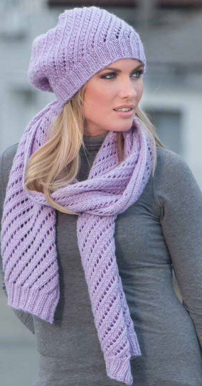 Diagonal Eyelet Scarf And Hat Knitting Pattern