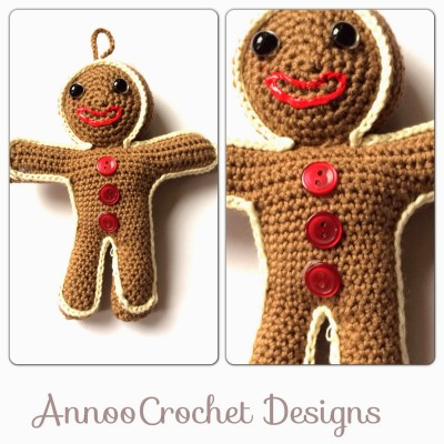 Gingerbread Man Christmas Ornament crochet free