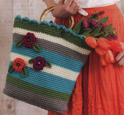 Market Bag with Flower Crochet