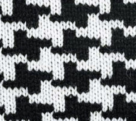 Black and white colorwork pattern knitting