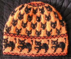 halloween with cats hat knitting pattern free