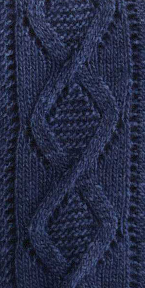 Lace Diamond Cable Knit Pattern Chart Only