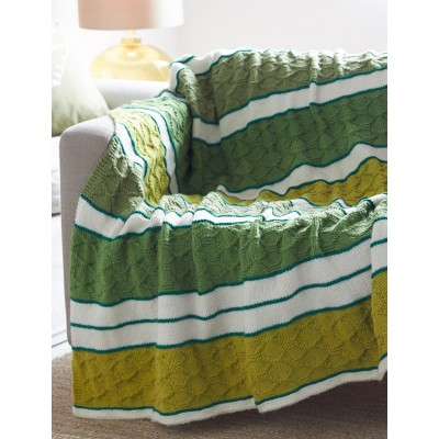 Block Quilt Striped Afghan Free Knitting Pattern