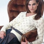 Ladies' Cardigan with Leaf Lace Pattern