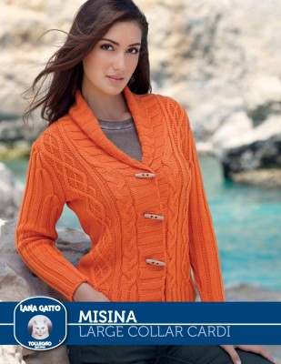 Misina - Large Collar Cardi cabled
