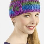 Ribbed Knit Cap & Flower