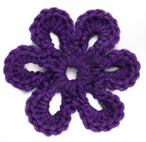 six petal flower knitting bee