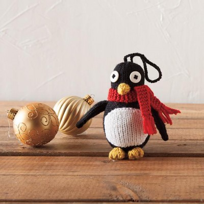 knitted penguin ornament