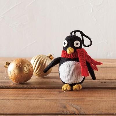 knitted penguin ornament