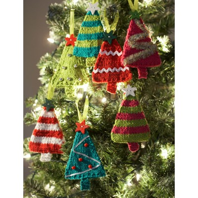 knitted tiny trees christmas ornaments