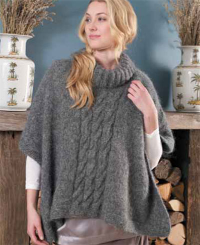 Free Knitting Patterns Ladies : Free Easy Hand Knitted Poncho Pattern