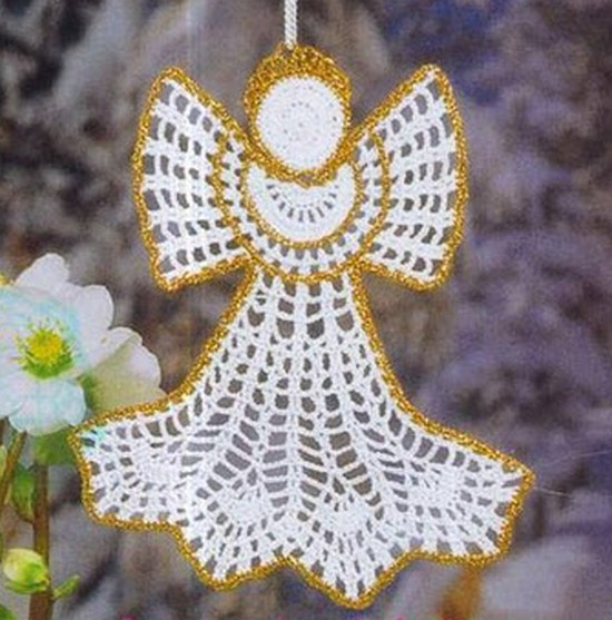 Crochet Pattern - Angel with Gold Trim